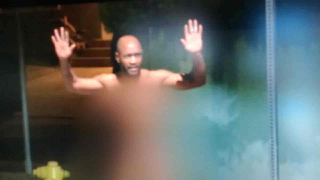 Arrested naked man
