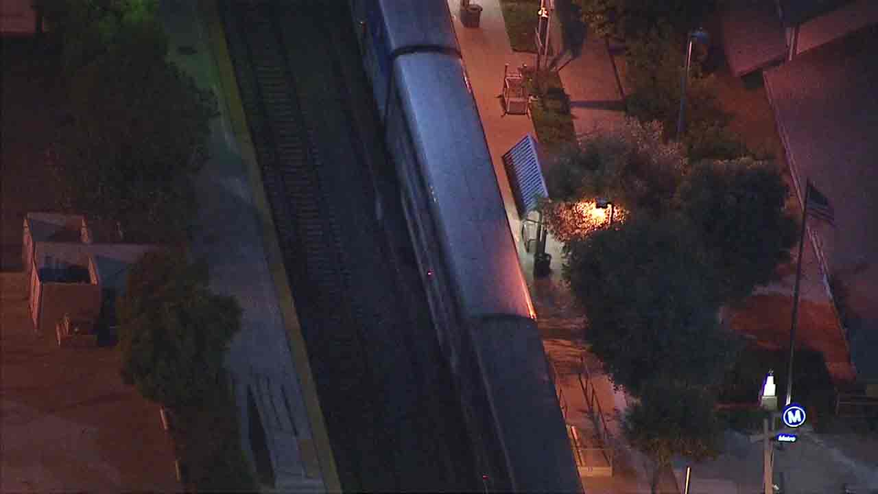 An Amtrak train stopped in Chatsworth after reports of a man inside with a gun on Friday, Sept. 16, 2016.
