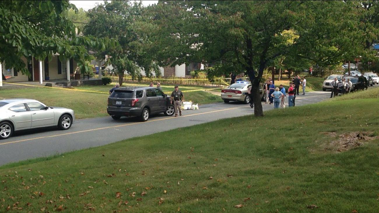 The scene outside a home on Monfredo Street in Rutherfordton.