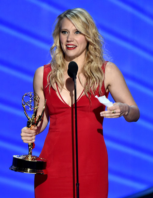 "<div class='meta'><div class='origin-logo' data-origin='AP'></div><span class='caption-text' data-credit='Photo by Vince Bucci/Invision for the Television Academy/AP Images'>Kate McKinnon accepts the award for outstanding supporting actress in a comedy series for ""Saturday Night Live"" at the 68th Primetime Emmy Awards on Sunday, Sept. 18, 2016.</span></div>"