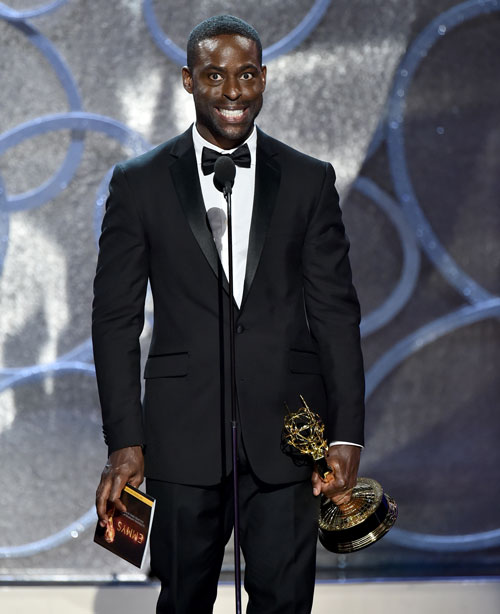 "<div class='meta'><div class='origin-logo' data-origin='AP'></div><span class='caption-text' data-credit='Photo by Vince Bucci/Invision for the Television Academy/AP Images'>Sterling K. Brown accepts the award for outstanding supporting actor in a limited series or a movie for ""The People v. O.J. Simpson: American Crime Story.&#34;</span></div>"