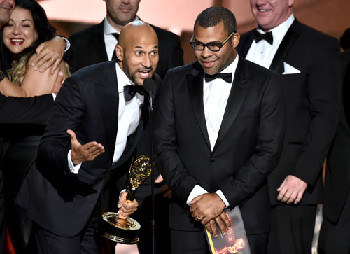 "<div class='meta'><div class='origin-logo' data-origin='AP'></div><span class='caption-text' data-credit='Photo by Vince Bucci/Invision for the Television Academy/AP Images'>Keegan-Michael Key, left, and Jordan Peele accept the award for outstanding variety sketch series for ""Key & Peele"" at the 68th Primetime Emmy Awards on Sunday, Sept. 18, 2016.</span></div>"