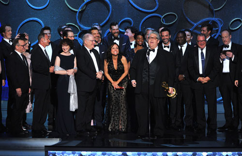 "<div class='meta'><div class='origin-logo' data-origin='AP'></div><span class='caption-text' data-credit='Photo by Vince Bucci/Invision for the Television Academy/AP Images'>David Mandel and the cast and crew from ""Veep"" accept the award for outstanding comedy series at the 68th Primetime Emmy Awards on Sunday, Sept. 18, 2016.</span></div>"