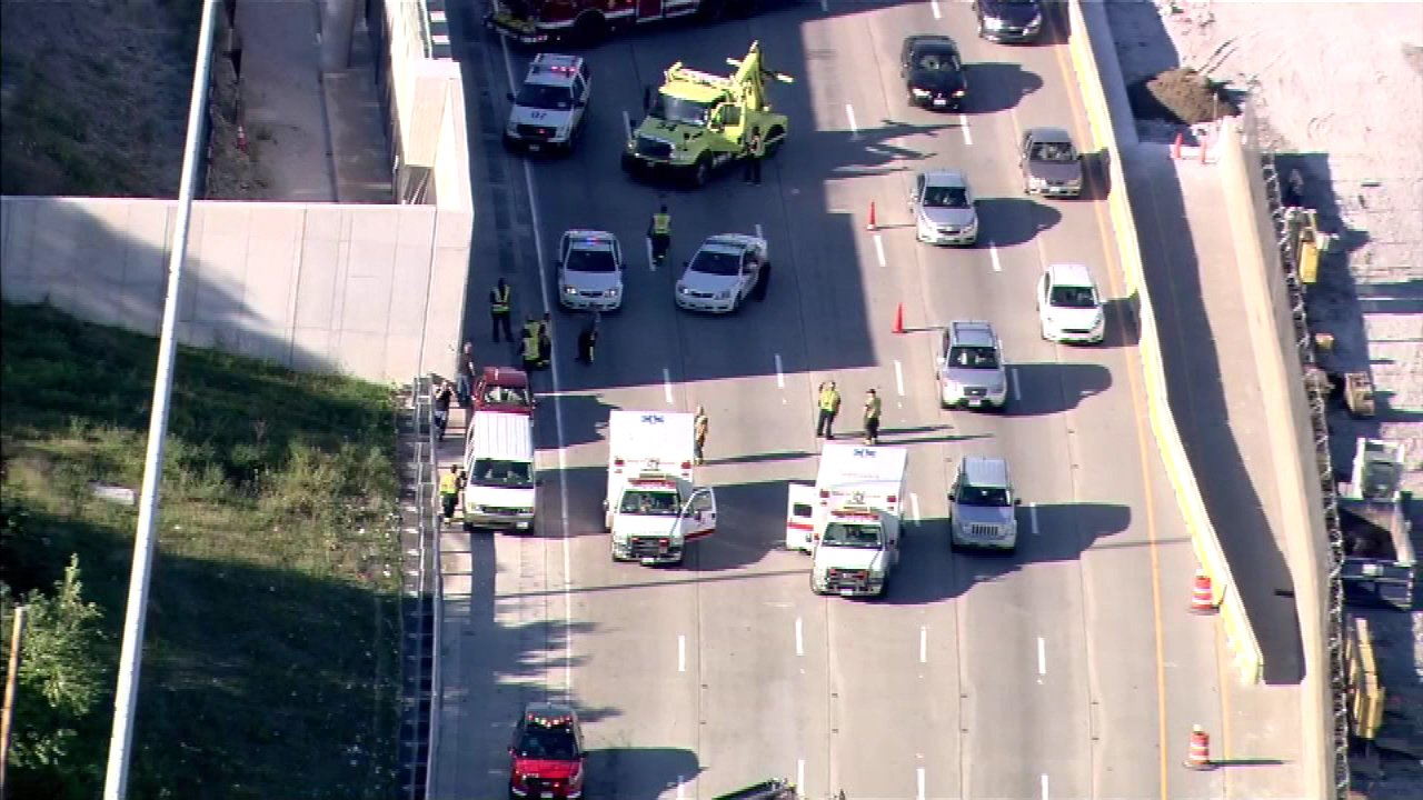 A crash on the Dan Ryan Expressway near 95th Street on Chicago's South Side.