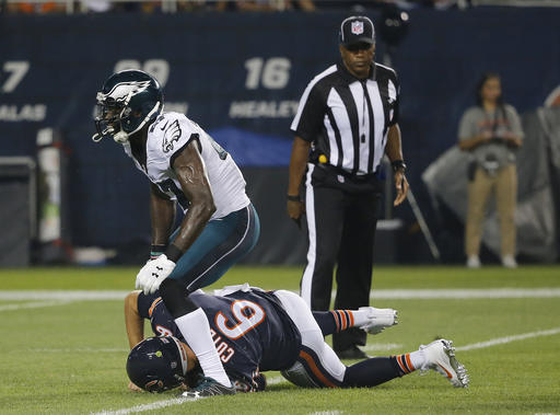 <div class='meta'><div class='origin-logo' data-origin='AP'></div><span class='caption-text' data-credit='AP Photo/Charles Rex Arbogas'>Chicago Bears quarterback Jay Cutler (6) is sacked by Philadelphia Eagles strong safety Malcolm Jenkins (27) during the first half of an NFL football game, Monday, Sept. 19, 2016.</span></div>