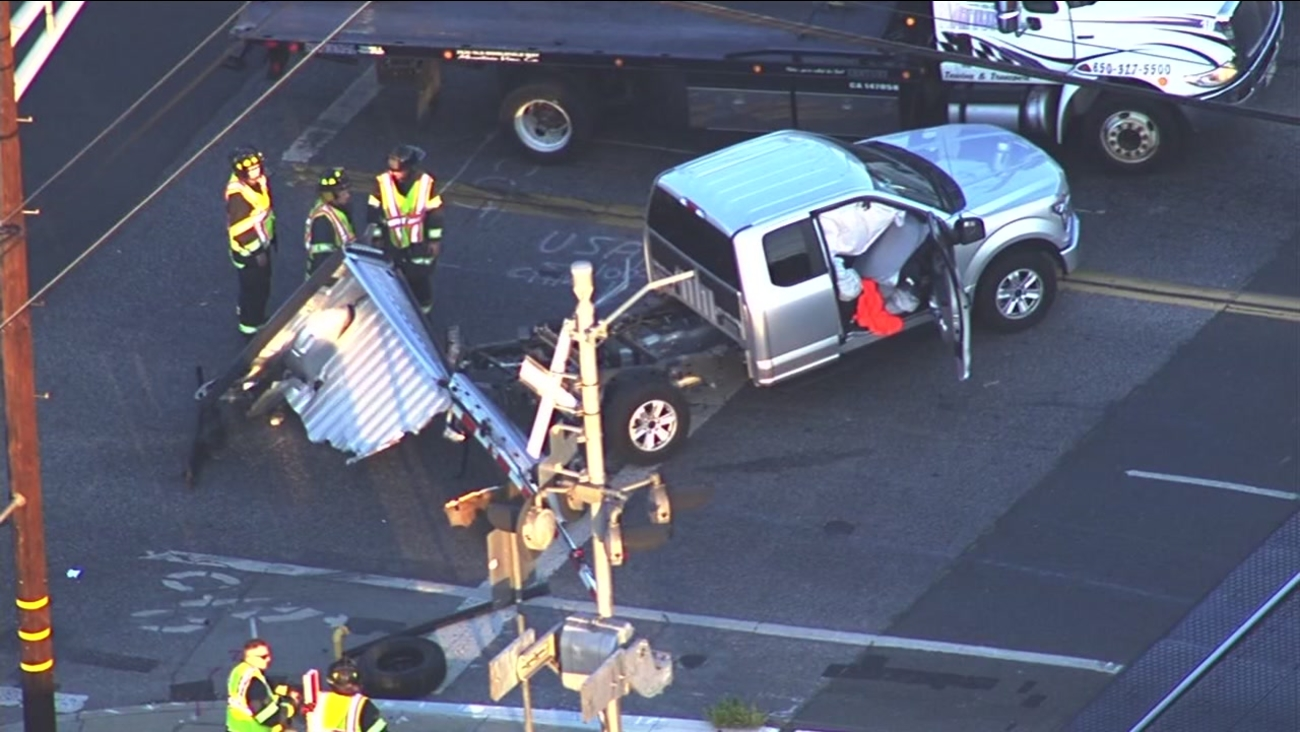 Officials say one person was injured after Caltrain hit a pickup truck in Palo Alto on Monday, September 19, 2016.