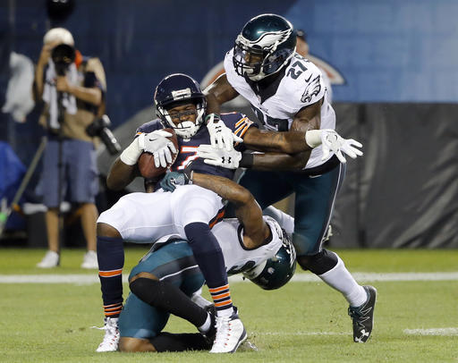 <div class='meta'><div class='origin-logo' data-origin='none'></div><span class='caption-text' data-credit='AP'>Chicago Bears wide receiver Alshon Jeffery (17) makes a catch against Philadelphia Eagles free safety Jalen Mills (31) and strong safety Malcolm Jenkins (27)</span></div>