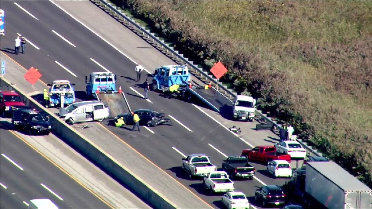Emergency crews on the scene of a multi-vehicle crash on the Indiana Toll Road near Lake Station on September 20, 2016.