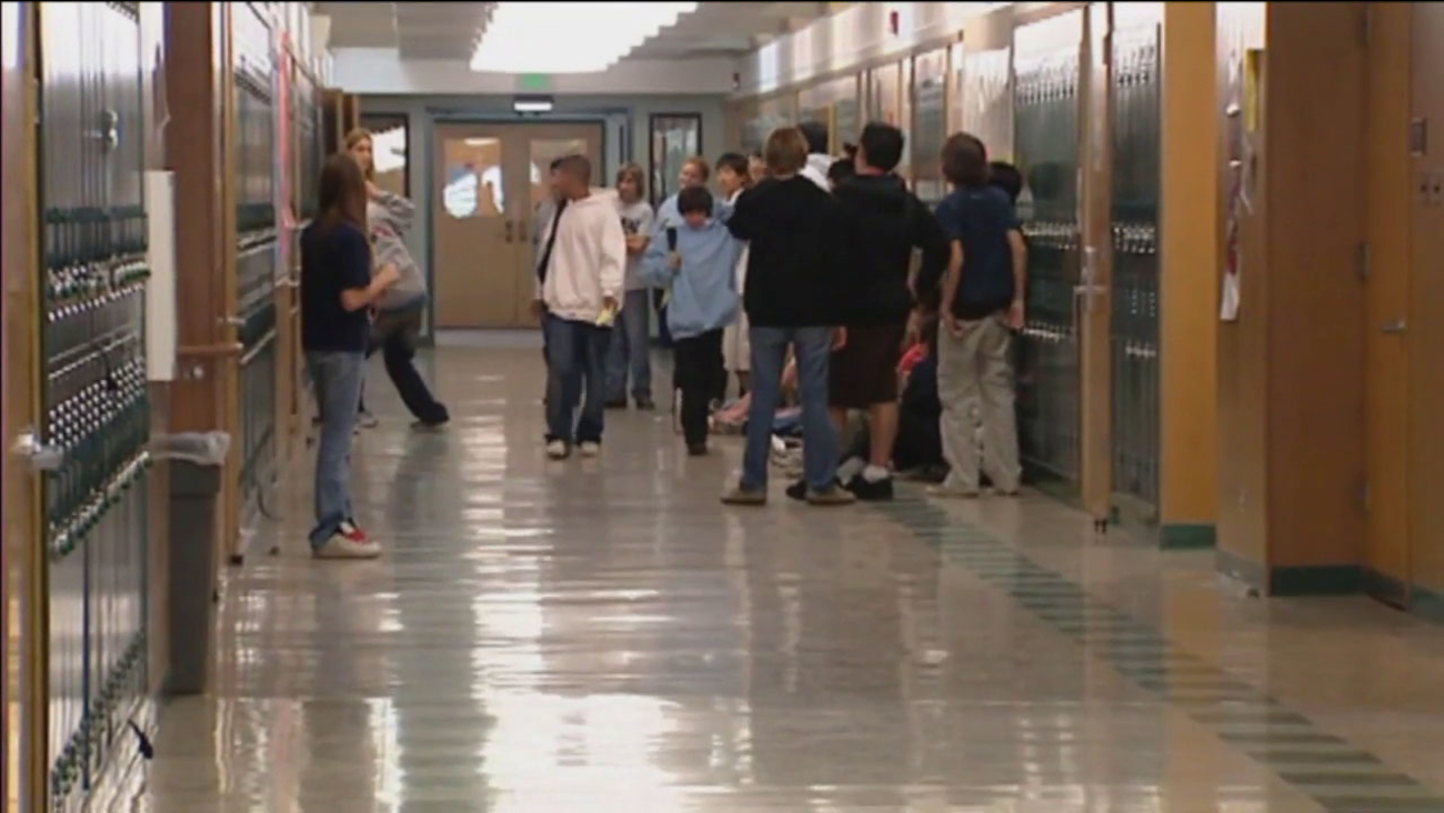 An undated photo of LAUSD students on a school campus.