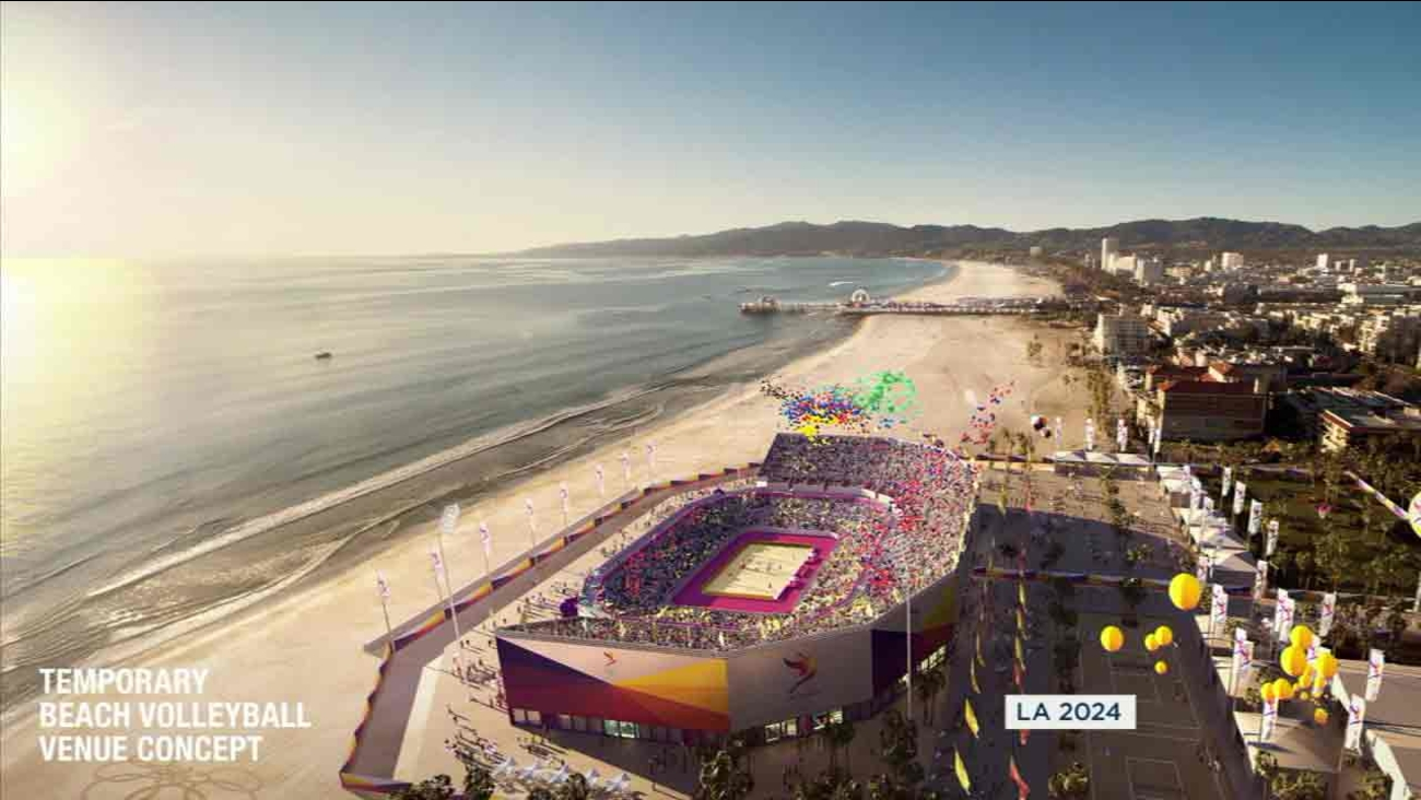 A rendering of a beach volleyball venue concept in Los Angeles for the 2024 Olympics.