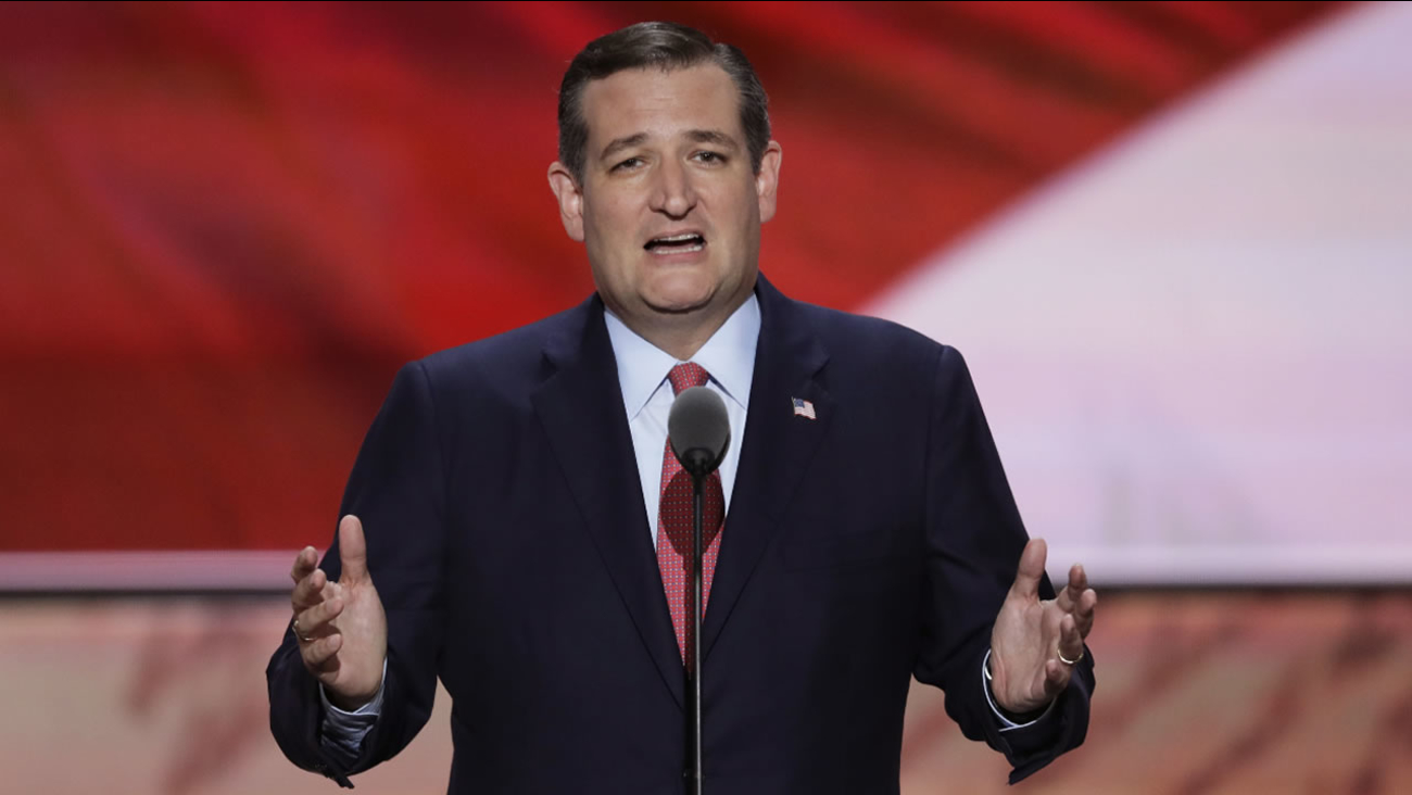 Sen. Ted Cruz, R-Tex., speaks during the third day of the Republican National Convention in Cleveland, Wednesday, July 20, 2016.