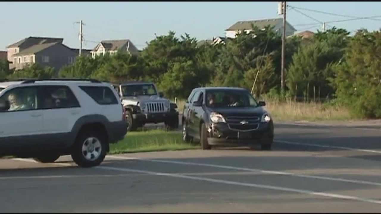 Cars line up for gas on Hatteras Island