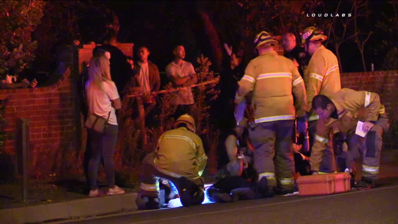 Firefighter-paramedics tended to multiple stabbing victims in Pasadena on Saturday, Sept. 24, 2016.
