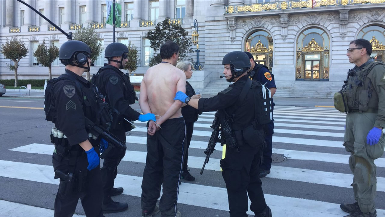 This image shows the suspect, a man in his 40s,  who was involved in a standoff in the Civic Center Plaza after he surrendered to San Francisco police officers on Sept. 24, 2016.