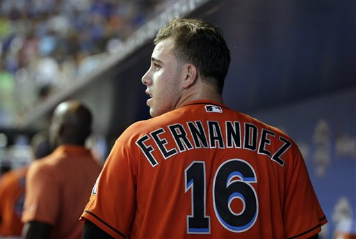 <div class='meta'><div class='origin-logo' data-origin='AP'></div><span class='caption-text' data-credit='AP'>Miami Marlins starting pitcher Jose Fernandez looks out from the dugout during a baseball game against the Chicago Cubs, Sunday, June 26, 2016, in Miami.</span></div>