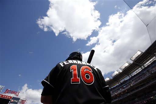 <div class='meta'><div class='origin-logo' data-origin='AP'></div><span class='caption-text' data-credit='AP'>Miami Marlins starting pitcher Jose Fernandez (16) prepares to bat during a baseball game against the Washington Nationals at Nationals Park, Sunday, May 15, 2016.</span></div>