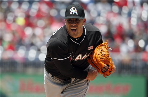 <div class='meta'><div class='origin-logo' data-origin='AP'></div><span class='caption-text' data-credit='AP'>Miami Marlins starting pitcher Jose Fernandez throws during the first inning of a baseball game against the Washington Nationals at Nationals Park, Sunday, May 15, 2016.</span></div>