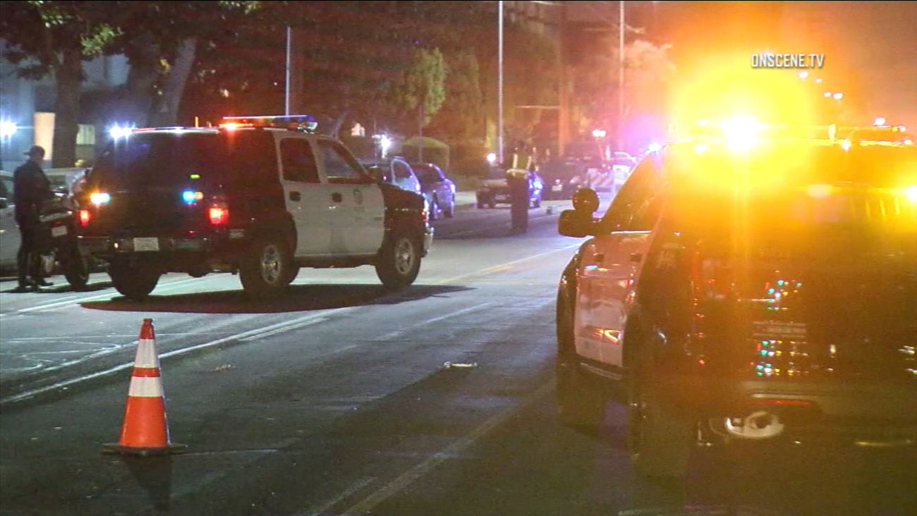 Los Angeles police responded to the 12800 block of Moorpark Street in Studio City after a pedestrian was fatally struck on Friday, Sept. 23, 2016.