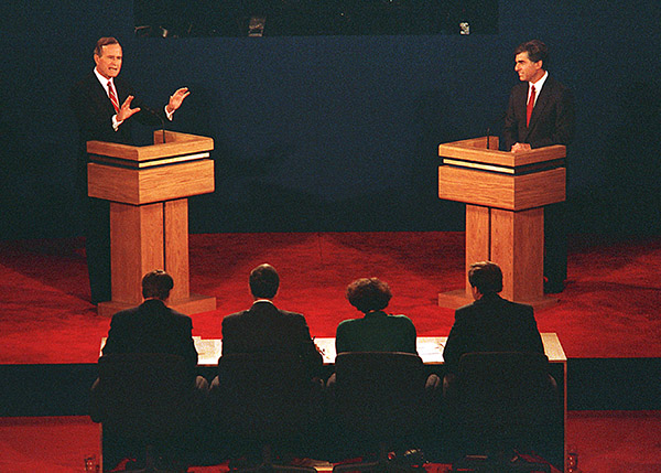 "<div class=""meta image-caption""><div class=""origin-logo origin-image ap""><span>AP</span></div><span class=""caption-text"">U.S. Vice President George Bush, left, and Mass. Gov. Michael Dukakis are shown during their first presidential debate at Wake Forest University, Sept. 25, 1988. (Dennis Cook/AP)</span></div>"