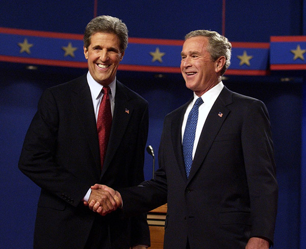 "<div class=""meta image-caption""><div class=""origin-logo origin-image ap""><span>AP</span></div><span class=""caption-text"">President Bush and Democratic presidential nominee John Kerry, D-Mass., shake hands before the start their debate at the University of Miami in Coral Gables, Fla., Sept. 30, 2004. (Gerald Herbert/AP)</span></div>"