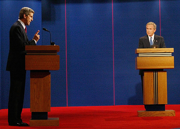 "<div class=""meta image-caption""><div class=""origin-logo origin-image ap""><span>AP</span></div><span class=""caption-text"">Democratic presidential candidate Sen. John Kerry, D-Mass., left ,speaks as President Bush listens during the presidential debate in Coral Gables, Fla. Thursday Sept. 30, 2004. (Wilfredo Lee/AP)</span></div>"