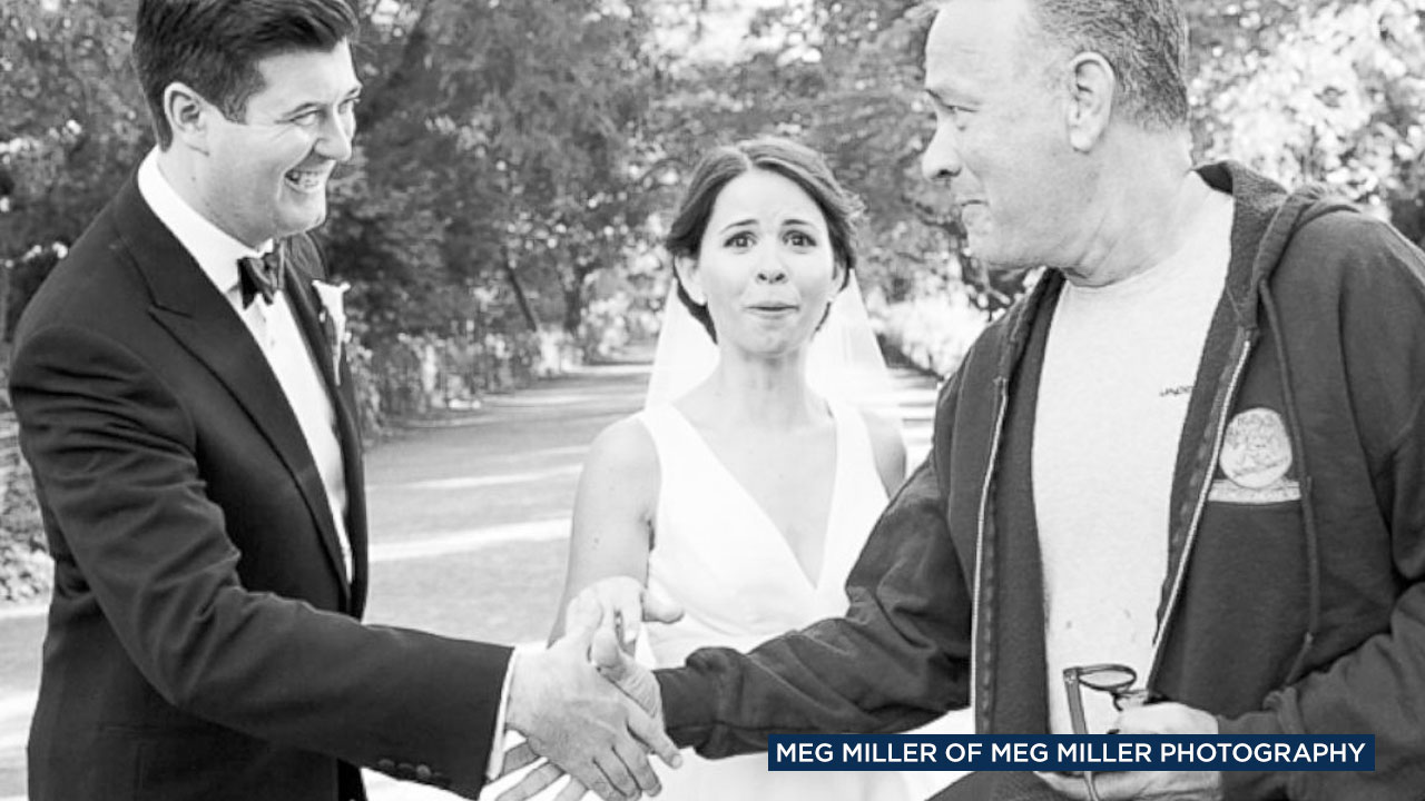 Tom Hanks is seen surprising bride and groom Elizabeth and Ryan at Central Park.