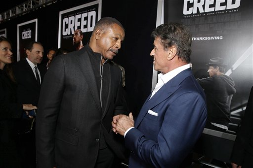 <div class='meta'><div class='origin-logo' data-origin='none'></div><span class='caption-text' data-credit='Eric Charbonneau/Invision/AP'>Carl Weathers and Producer Sylvester Stallone seen at Los Angeles World Premiere of New Line Cinema's and Metro-Goldwyn-Mayer Pictures' 'Creed'</span></div>