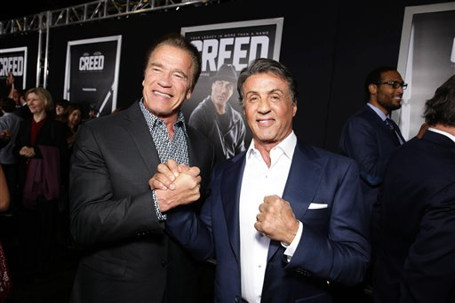 <div class='meta'><div class='origin-logo' data-origin='none'></div><span class='caption-text' data-credit='Eric Charbonneau/Invision/AP'>Arnold Schwarzenegger and Producer Sylvester Stallone seen at Los Angeles World Premiere of New Line Cinema's and Metro-Goldwyn-Mayer Pictures' 'Creed'</span></div>