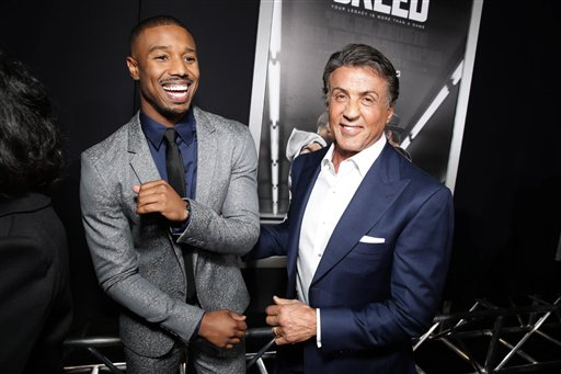 <div class='meta'><div class='origin-logo' data-origin='none'></div><span class='caption-text' data-credit='Eric Charbonneau/Invision/AP'>Michael B. Jordan and Producer Sylvester Stallone seen at Los Angeles World Premiere of New Line Cinema's and Metro-Goldwyn-Mayer Pictures' 'Creed'</span></div>