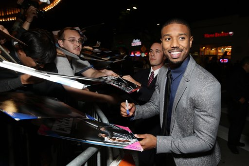 <div class='meta'><div class='origin-logo' data-origin='none'></div><span class='caption-text' data-credit='Eric Charbonneau/Invision/AP'>Michael B. Jordan seen at Los Angeles World Premiere of New Line Cinema's and Metro-Goldwyn-Mayer Pictures' 'Creed'</span></div>