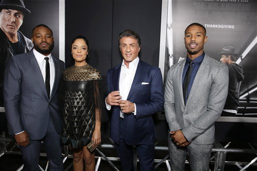 <div class='meta'><div class='origin-logo' data-origin='none'></div><span class='caption-text' data-credit='Eric Charbonneau/Invision/AP'>Writer/Director Ryan Coogler, Tessa Thompson, Producer Sylvester Stallone and Michael B. Jordan seen at Los Angeles World Premiere of 'Creed'</span></div>