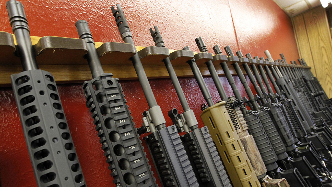AR-15 style rifles are seen in this file photo.