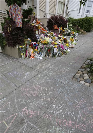 <div class='meta'><div class='origin-logo' data-origin='AP'></div><span class='caption-text' data-credit='AP Photo/Eric Risberg'>Messages in chalk written on the sidewalk are shown by makeshift memorial for actor Robin Williams outside a home which was used in the filming of the movie &#34;Mrs. Doubtfire.&#34;</span></div>