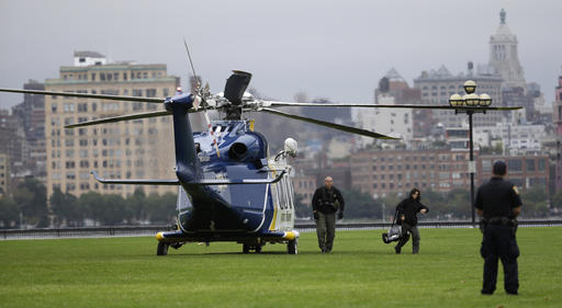 <div class='meta'><div class='origin-logo' data-origin='none'></div><span class='caption-text' data-credit='AP'>Emergency officials arrive by helicopter at Pier A Park near the Hoboken Terminal following a train crash, Thursday, Sept. 29, 2016, in Hoboken, N.J.</span></div>
