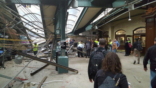 <div class='meta'><div class='origin-logo' data-origin='none'></div><span class='caption-text' data-credit='AP'>This photo provided by Ian Samuel shows the scene of a train crash in Hoboken, N.J., on Thursday, Sept. 29, 2016.</span></div>