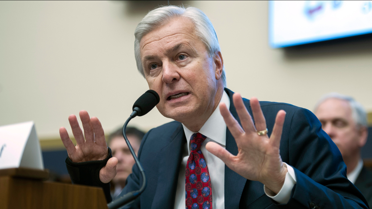 Wells Fargo CEO John Stumpf testifies on Capitol Hill before the House Financial Services Committee in Washington, Thursday, Sept. 29, 2016.