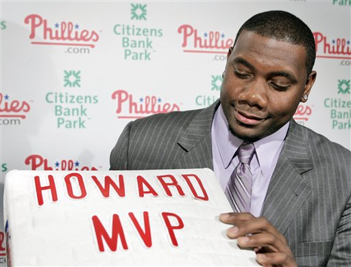 "<div class=""meta image-caption""><div class=""origin-logo origin-image ap""><span>AP</span></div><span class=""caption-text"">Phillies' Ryan Howard poses with a base after a news conference in Philadelphia Monday, Nov. 20, 2006, after he was was voted the National League's Most Valuable Player. (AP Photo/George Widman)</span></div>"