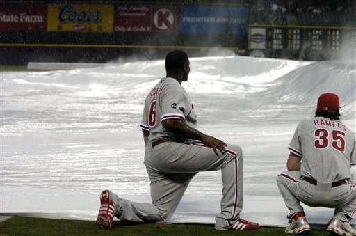 <div class='meta'><div class='origin-logo' data-origin='AP'></div><span class='caption-text' data-credit='AP Photo/The Denver Post, John Leyba'>Philadelphia Phillies first baseman Ryan Howard, left, joins pitcher Cole Hamels in holding down the tarp as a stormenveloped Coors Field in Denver, July 8, 2007.</span></div>