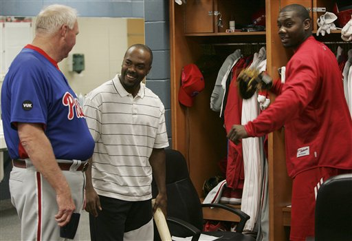 <div class='meta'><div class='origin-logo' data-origin='AP'></div><span class='caption-text' data-credit='AP Photo/Keith Srakocic'>Philadelphia Phillies manager Charlie Manuel, left, talks with Jimmy Rollins, center, and Ryan Howard, at spring training facility  in Clearwater, Fla., Tuesday, Feb. 19, 2008.</span></div>