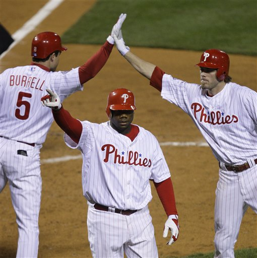 <div class='meta'><div class='origin-logo' data-origin='AP'></div><span class='caption-text' data-credit='AP Photo/Julie Jacobson'>Ryan Howard reacts in front of Pat Burrell and Jayson Werthafter hitting a three run home run during Game 4 of the World Series against the Tampa Bay Rays, Oct. 26, 2008.</span></div>