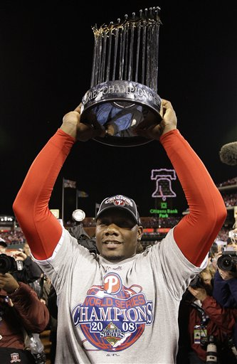 "<div class=""meta image-caption""><div class=""origin-logo origin-image ap""><span>AP</span></div><span class=""caption-text"">Philadelphia Phillies' Ryan Howard holds the World Series trophy after Game 5 of the baseball World Series in Philadelphia, Wednesday, Oct. 29, 2008. (AP Photo/David J. Phillip)</span></div>"