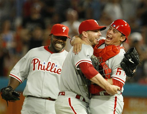 "<div class=""meta image-caption""><div class=""origin-logo origin-image ap""><span>AP</span></div><span class=""caption-text"">Starting pitcher Roy Halladay, center, celebrates with Carlos Ruiz, right, and Ryan Howard after Halladay threw a perfect game against the Florida Marlins, May 29, 2010 (AP Photo/Wilfredo Lee)</span></div>"