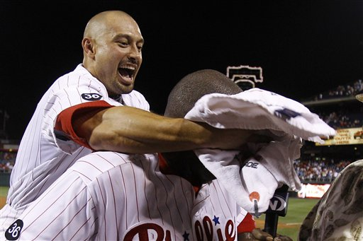 "<div class=""meta image-caption""><div class=""origin-logo origin-image ap""><span>AP</span></div><span class=""caption-text"">Shane Victorino, left, smears teammate Ryan Howard with a shaving cream towel to the face after Howard's game-winning home run in the tenth inning against the Reds, July 9, 2010 (AP Photo/Matt Slocum)</span></div>"