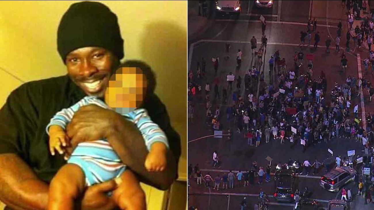 Reginald 'J.R.' Thomas is seen in a photo provided to Eyewitness News by his girlfriend's brother (left) About 100 people gather in protest (right).