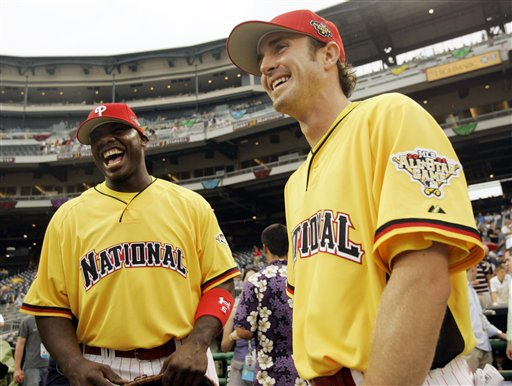 "<div class=""meta image-caption""><div class=""origin-logo origin-image ap""><span>AP</span></div><span class=""caption-text"">Philadelphia Phillies second baseman Chase Utley, right, and teammate Ryan Howard laugh before the baseball All Star Game home run derby in Pittsburgh, Monday, July 10, 2006. (AP Photo/Charles Krupa)</span></div>"