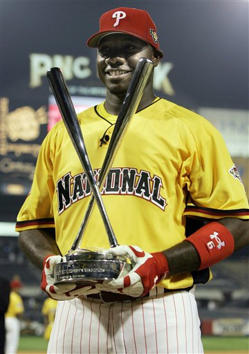 "<div class=""meta image-caption""><div class=""origin-logo origin-image ap""><span>AP</span></div><span class=""caption-text"">Philadelphia Phillies Ryan Howard holds his trophy after he won the baseball All Star Game home run derby in Pittsburgh, Monday, July 10, 2006. (AP Photo/Charles Krupa)</span></div>"