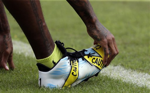 aeccb18e2 wpvi. Washington Redskins wide receiver DeSean Jackson wears cleats with a police  caution tape theme before an NFL football game ...