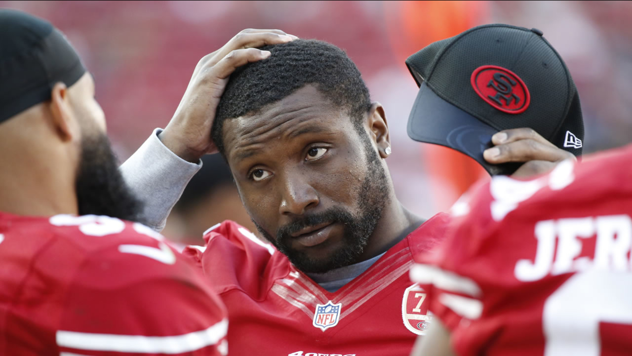 This Aug. 14, 2016 photo shows San Francisco 49ers inside linebacker NaVorro Bowman standing on the sidelines during an NFL preseason football game in Santa Clara, Calif.