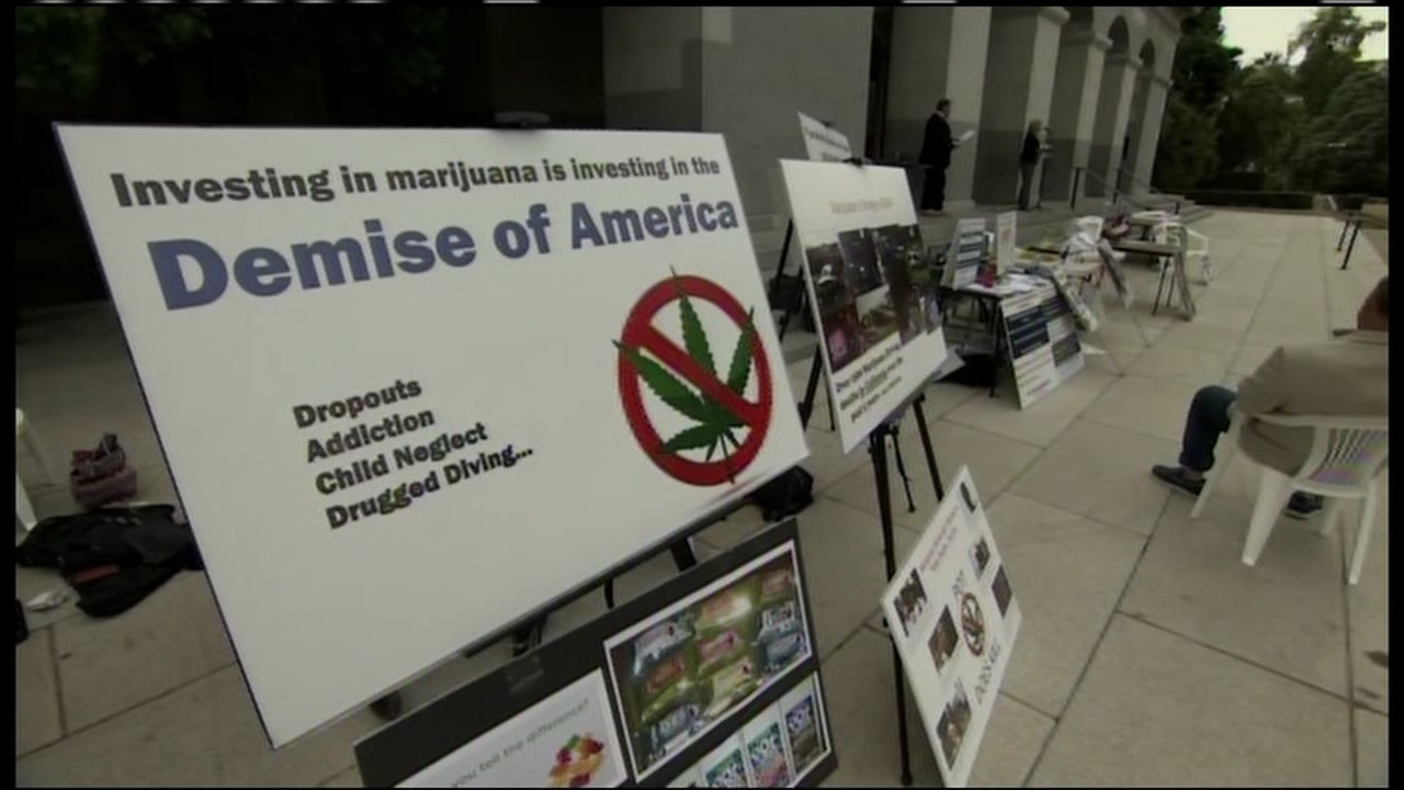Proposition 64, the ballot initiative to legalize the use of recreational marijuana, got some blowback from a group of moms in Sacramento, Calif. on Tuesday, October 4, 2016.