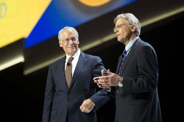 <div class='meta'><div class='origin-logo' data-origin='AP'></div><span class='caption-text' data-credit='AP Photo/Sarah Bentham'>No. 11 and No. 12: Jim Walton, right, is worth $35.6B, and  Rob Walton, left, is worth $35.5B.</span></div>